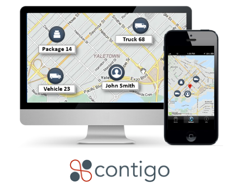 GPS vehicle tracking display and contigo logo below