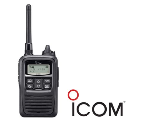 icom logo and icom two-way radio side by sidex