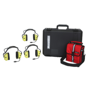 handsfree portable headsets provided with protective casing