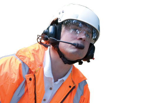 construction worker using his handsfree headset