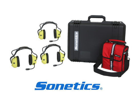 sonetics wireless headsets provided with a protective casing