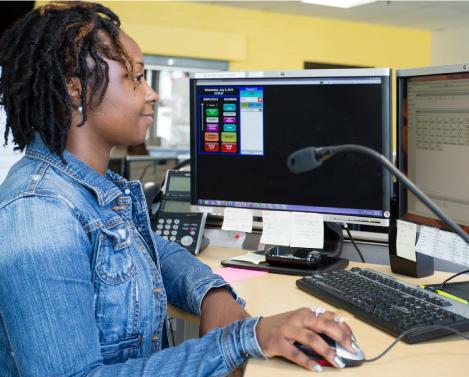 radio dispatch responder on her computer